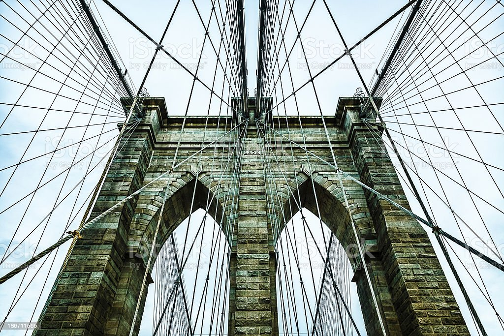 Brooklyn bridge, Downtown Manhattan, New York royalty-free stock photo