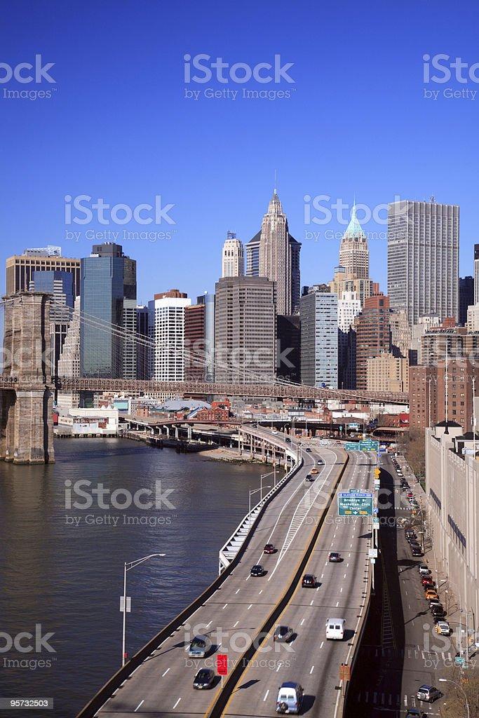 Brooklyn Bridge, FDR and Downtown Manhattan stock photo