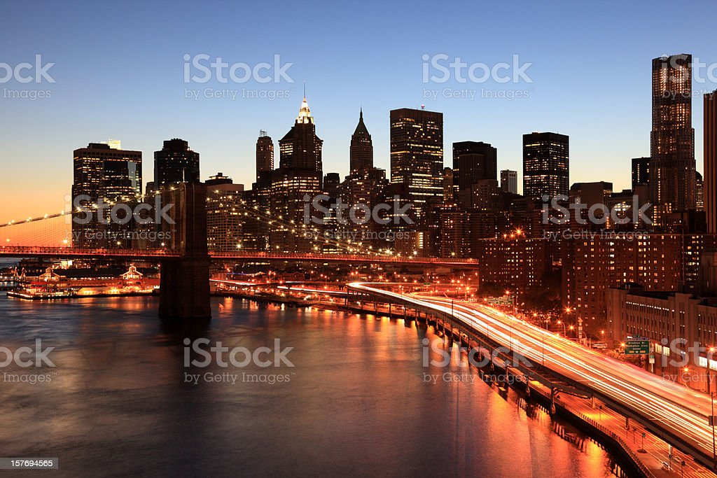 Brooklyn Bridge, FDR Drive and downtown NYC royalty-free stock photo