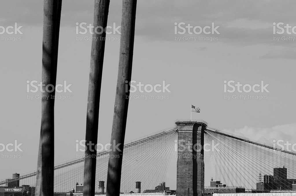 Brooklyn Bridge from Governor's Island royalty-free stock photo