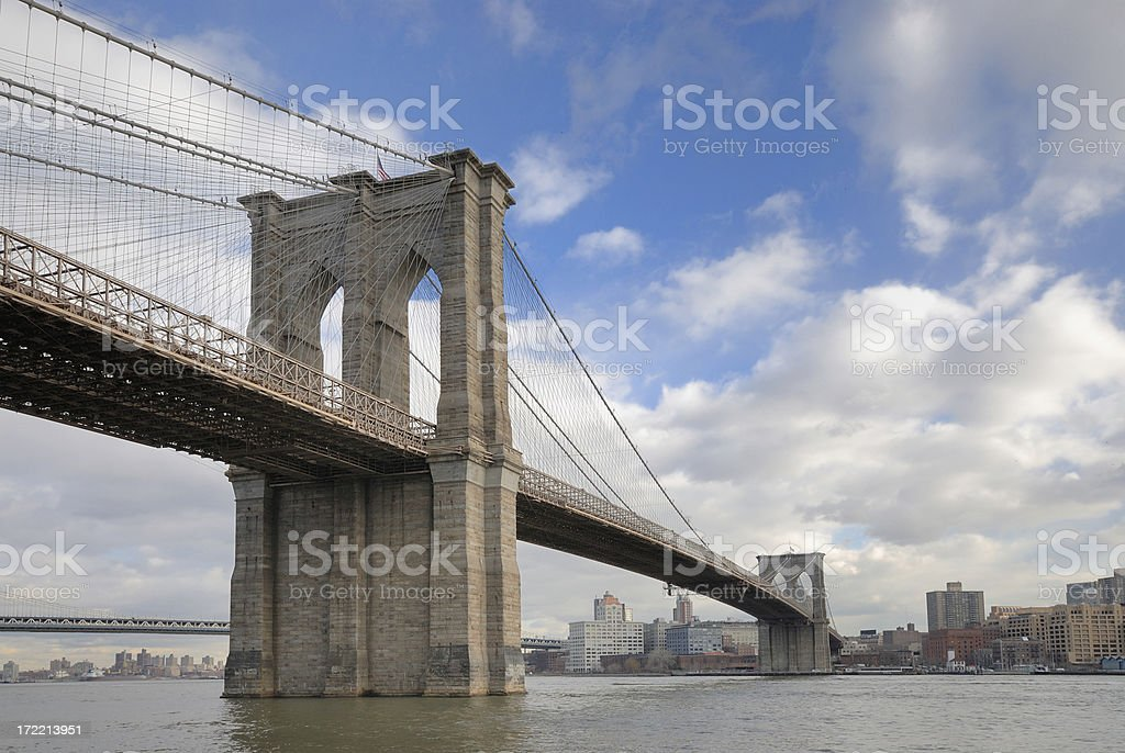 Brooklyn Bridge from Manhattan stock photo