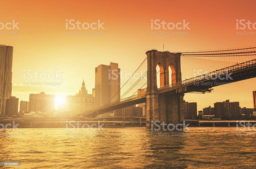 Brooklyn Bridge in Manhattan stock photo