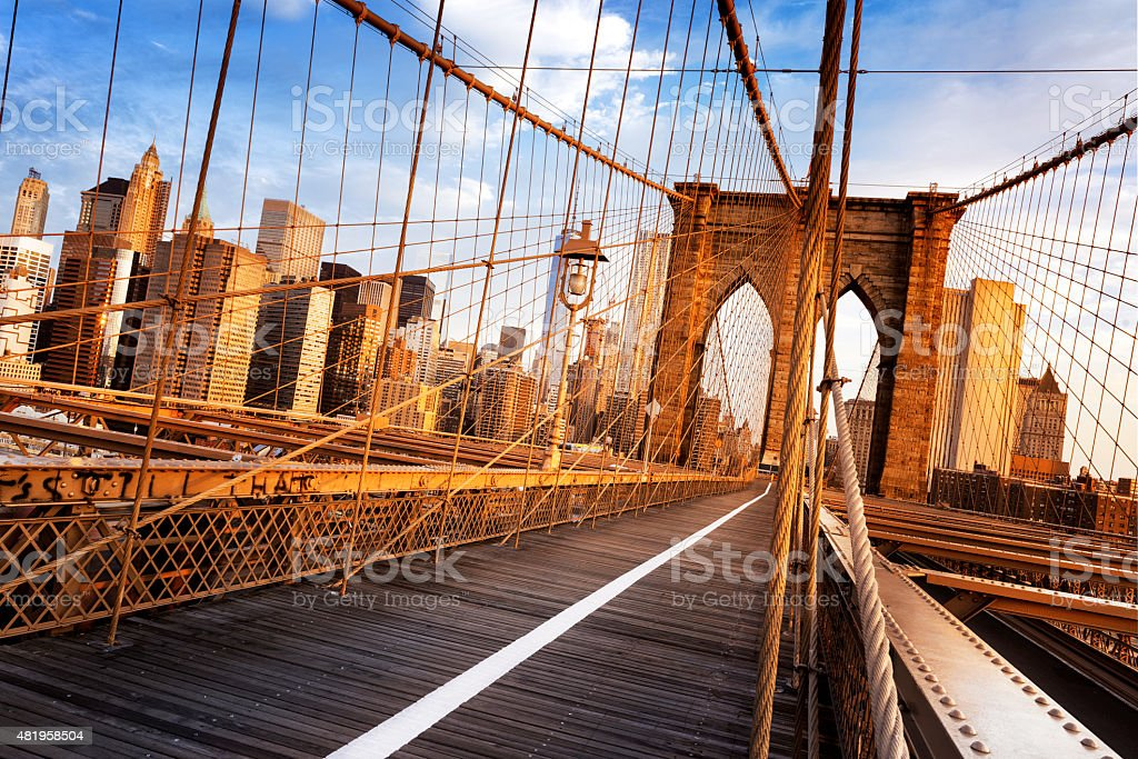 Brooklyn Bridge in New York City stock photo