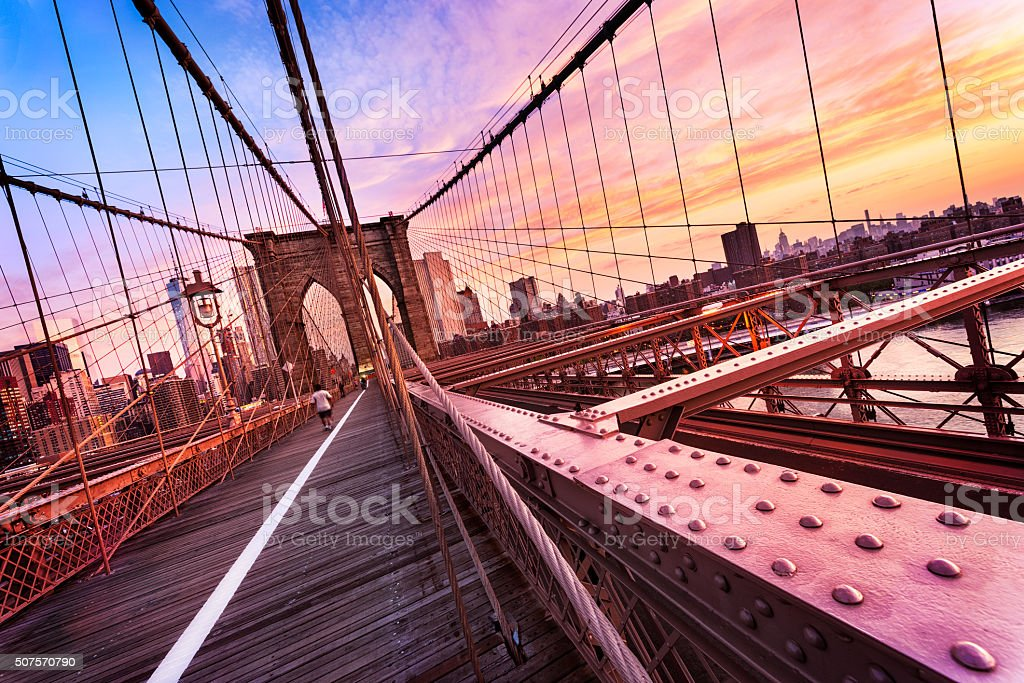Brooklyn Bridge in New York City stock photo