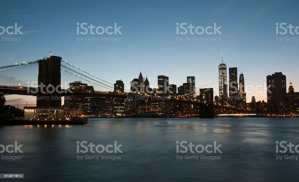 Brooklyn Bridge in New York City . stock photo