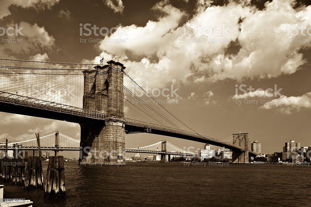 Brooklyn Bridge in Sepia royalty-free stock photo