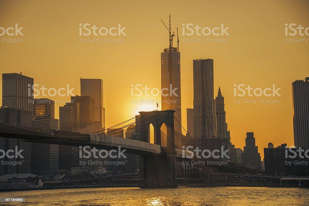 Brooklyn bridge in sunset royalty-free stock photo