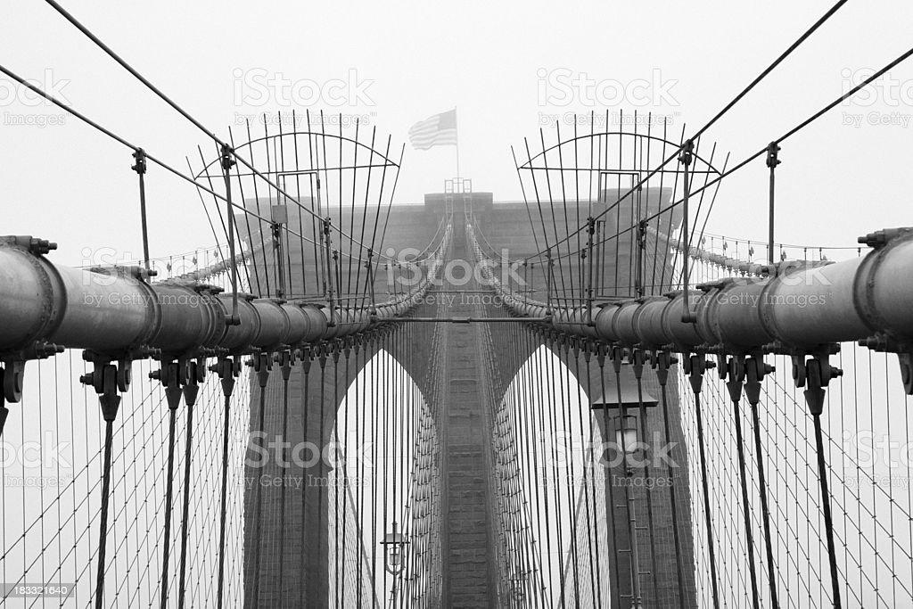 Brooklyn Bridge in the fog royalty-free stock photo