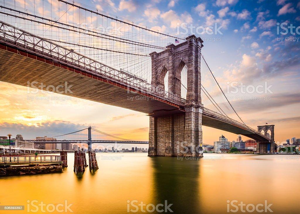 Brooklyn Bridge in the Morning. stock photo