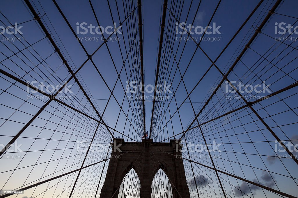 Brooklyn Bridge in uprisen angle stock photo