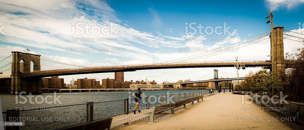 Brooklyn Bridge Jogger stock photo