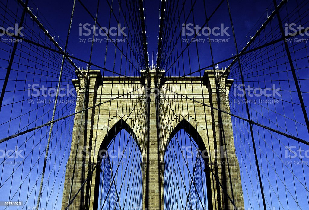 Brooklyn Bridge - low angle, New York, USA royalty-free stock photo