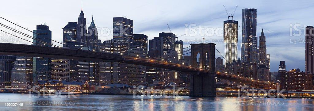 Brooklyn Bridge Manhattan skyline at twilight, panoramic royalty-free stock photo