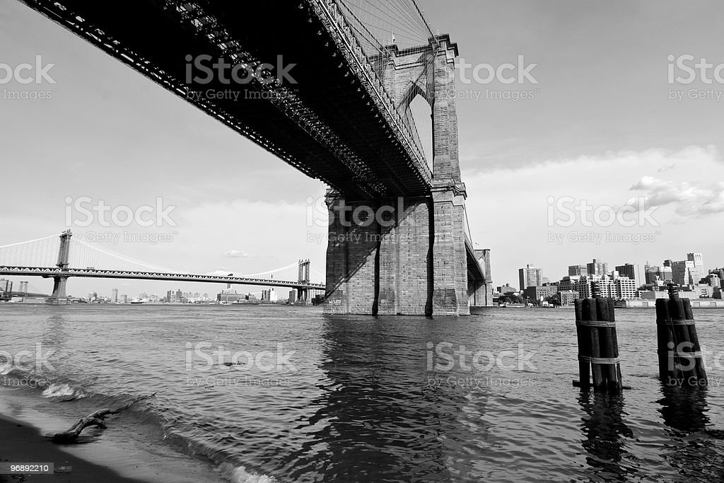 Brooklyn Bridge New York and East River royalty-free stock photo