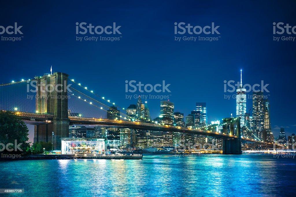 Brooklyn Bridge New York City Night stock photo