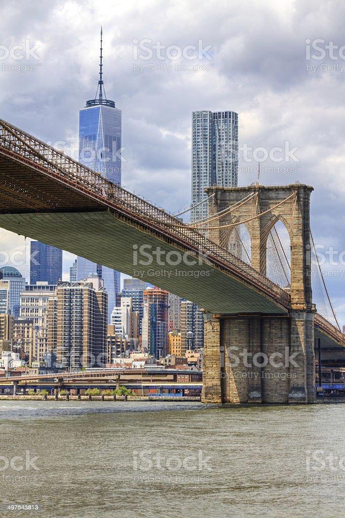 Brooklyn Bridge, New York City. stock photo
