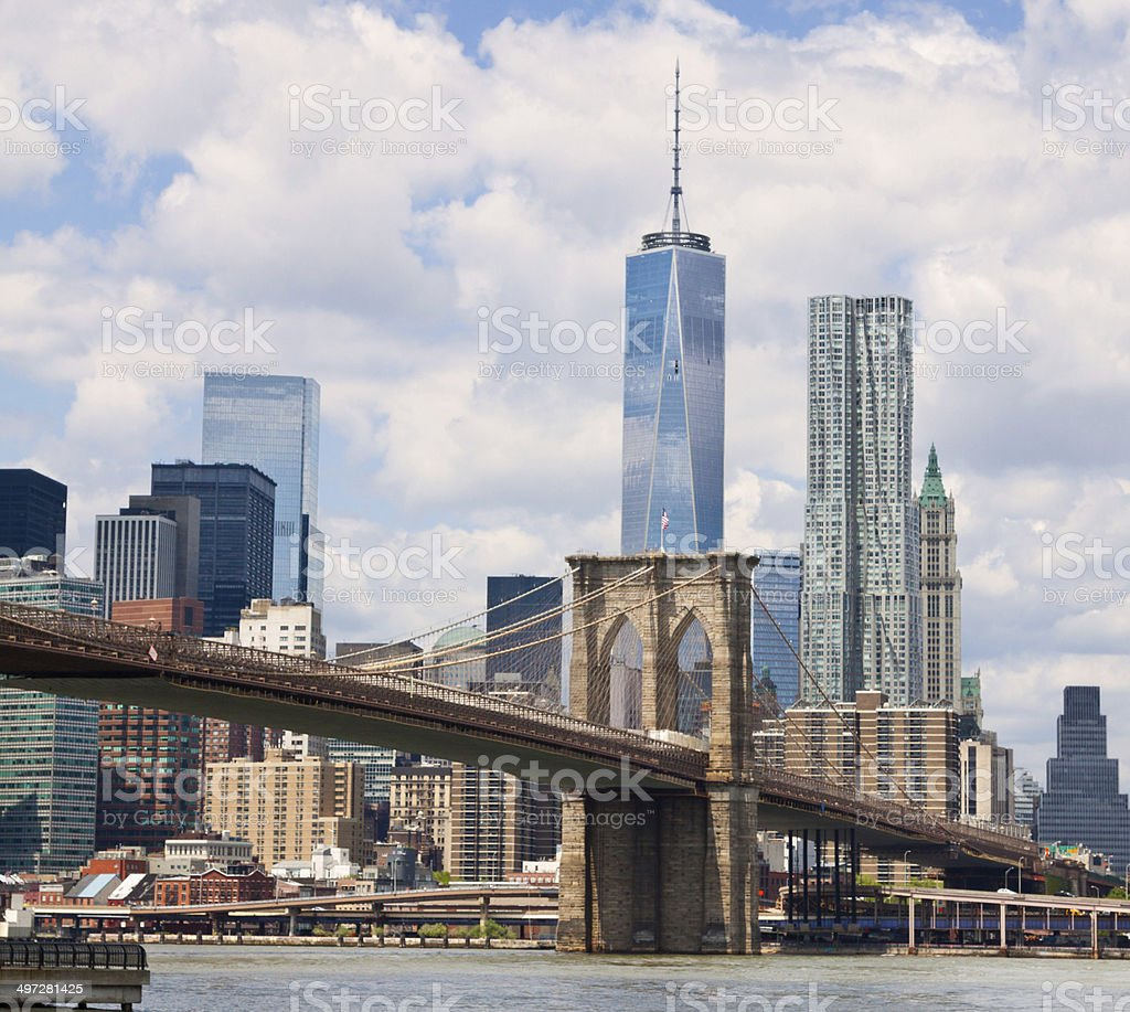 Brooklyn Bridge, New York City Skyline and World Trade Center. stock photo