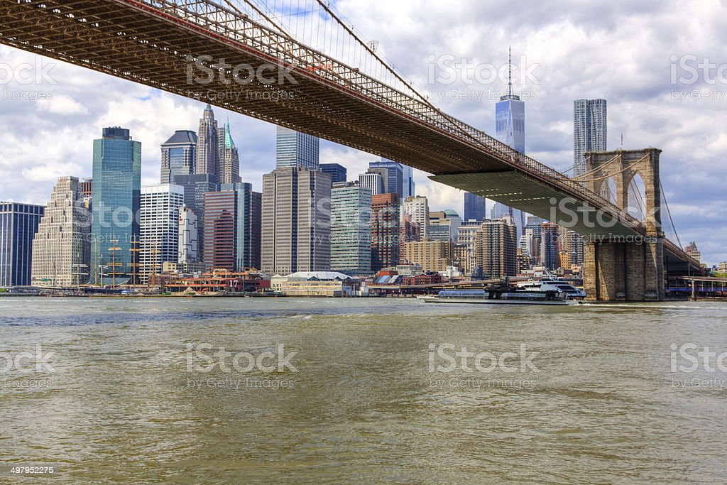 Brooklyn Bridge, New York City Skyline and World Trade Center. royalty-free stock photo