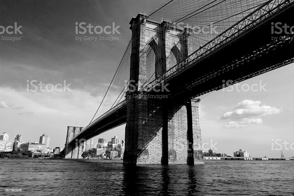 Brooklyn Bridge New York in Black and White royalty-free stock photo