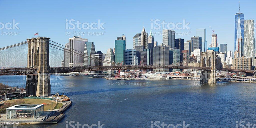Brooklyn Bridge - New York Skyline stock photo
