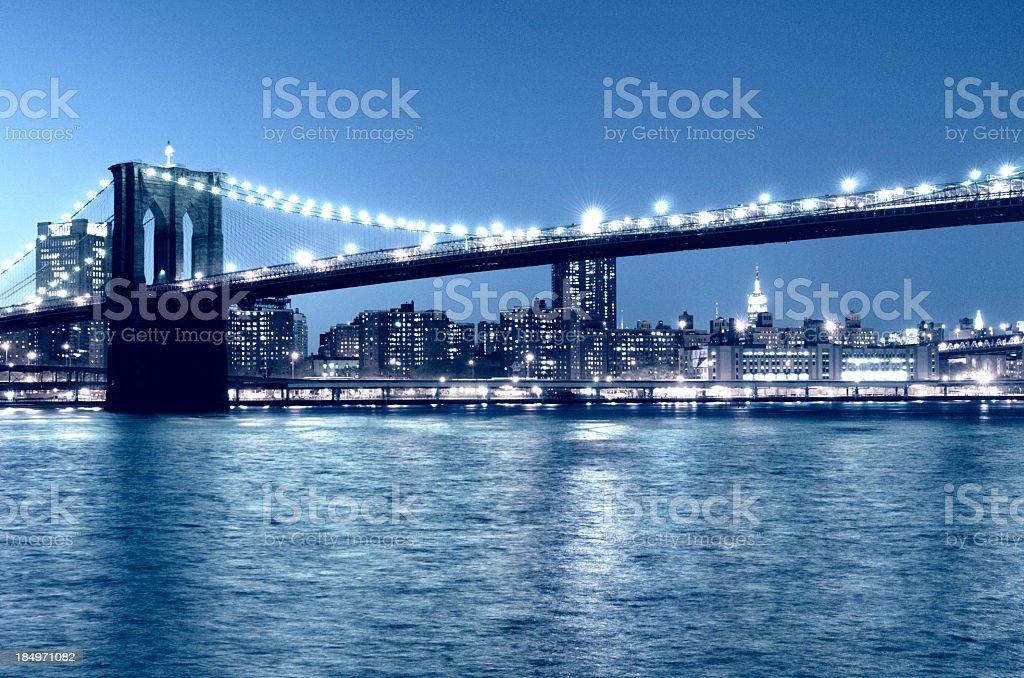 Brooklyn Bridge Night, NYC. Blue Toned royalty-free stock photo