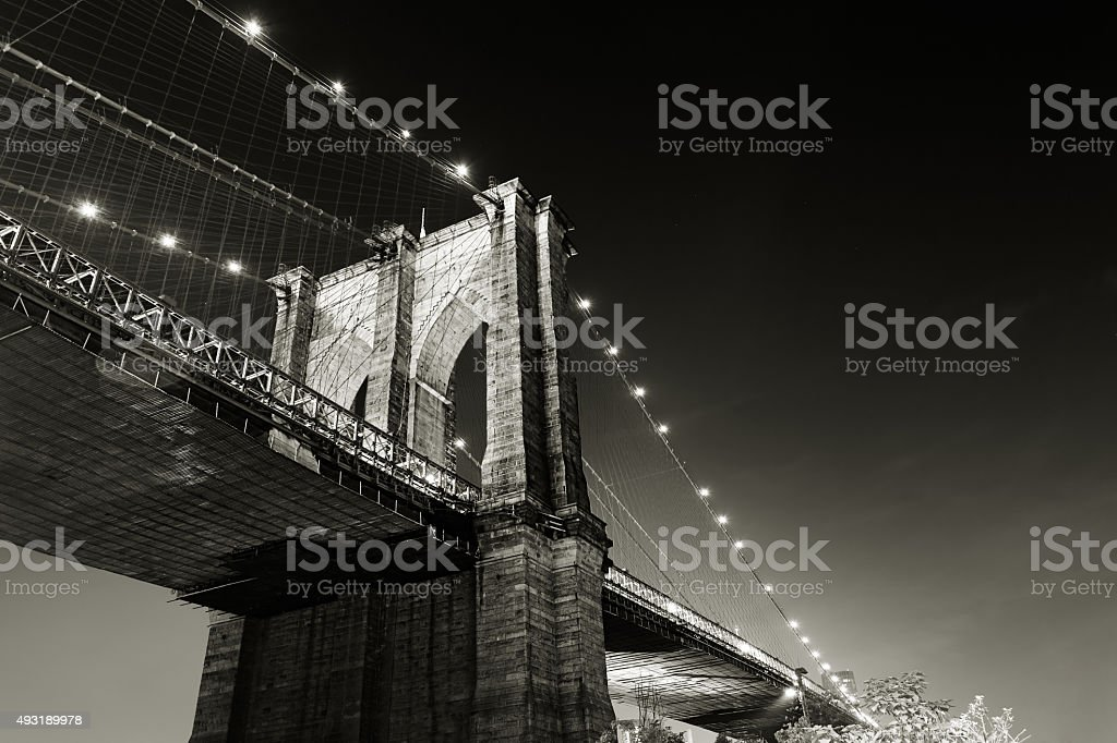 Brooklyn bridge, night shot. New york city stock photo