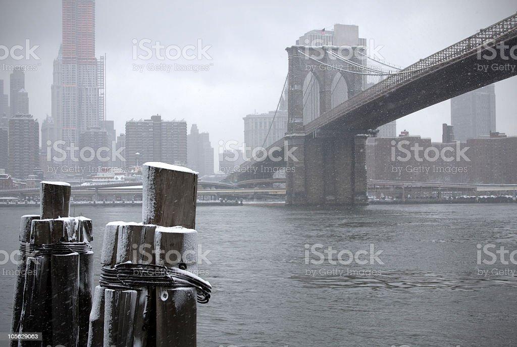 Brooklyn Bridge on a Snowy Day royalty-free stock photo