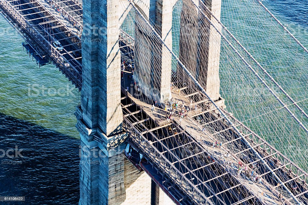Brooklyn Bridge over the East River in New York stock photo