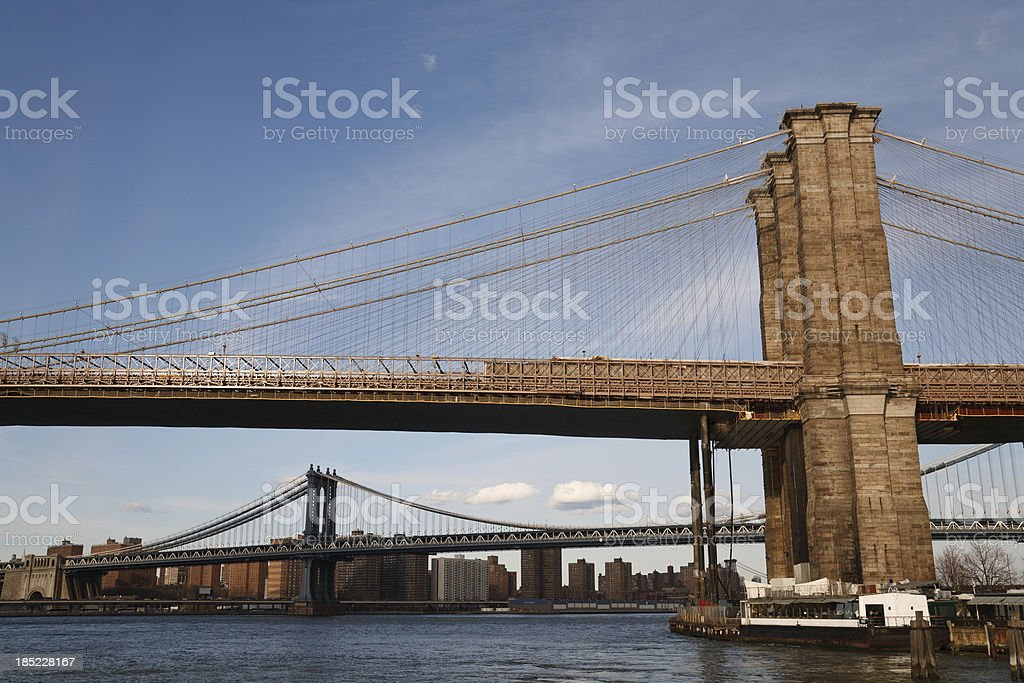 Brooklyn Bridge over the East River royalty-free stock photo