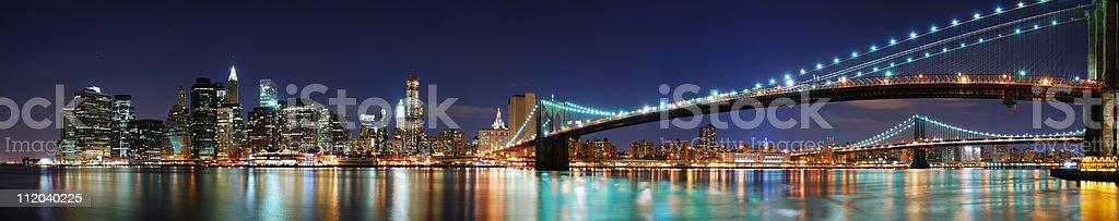 Brooklyn Bridge panorama in New York City Manhattan royalty-free stock photo