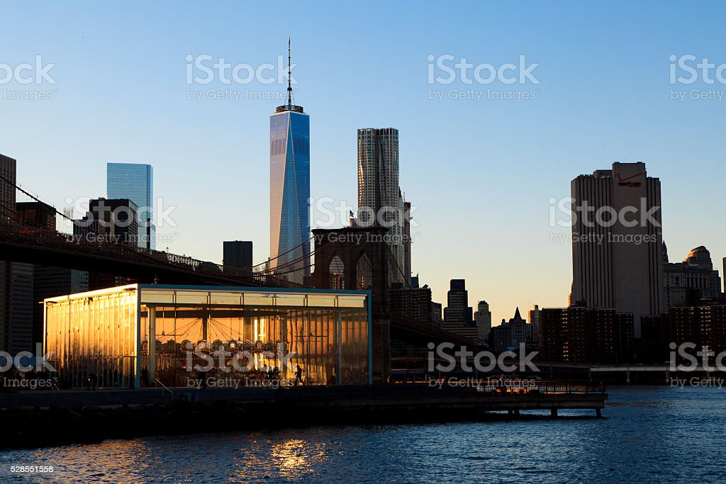Brooklyn Bridge park and New York Skyline stock photo