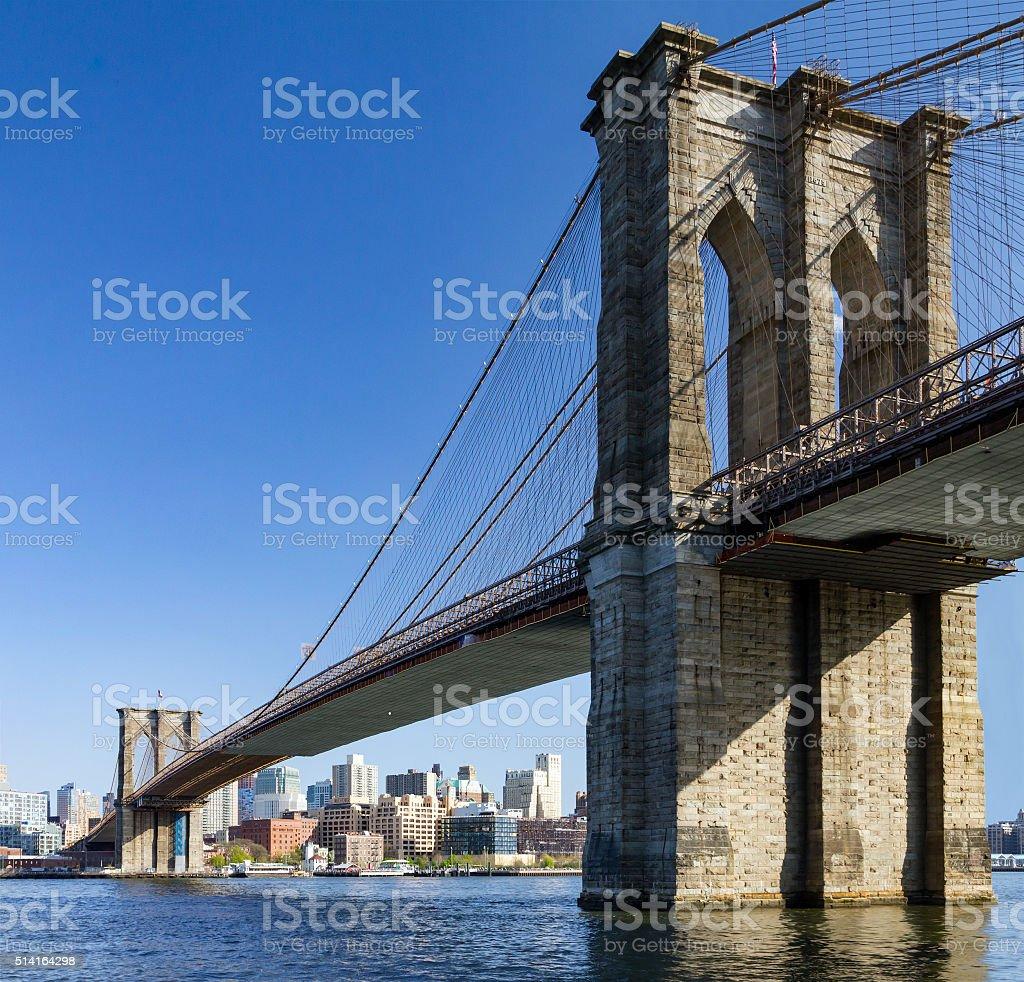 Brooklyn Bridge seen from Manhattan, New York City stock photo