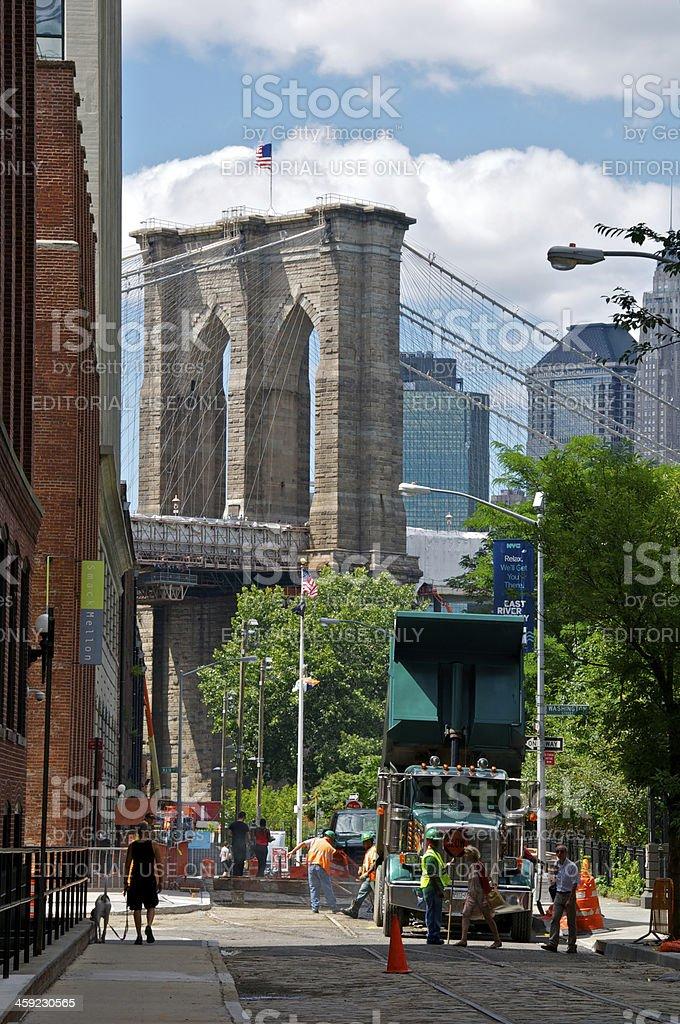 Brooklyn Bridge seen from Pylmouth St, DUMBO, NYC stock photo