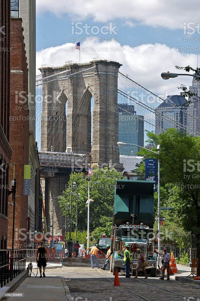 Brooklyn Bridge seen from Pylmouth St, DUMBO, NYC stock photo