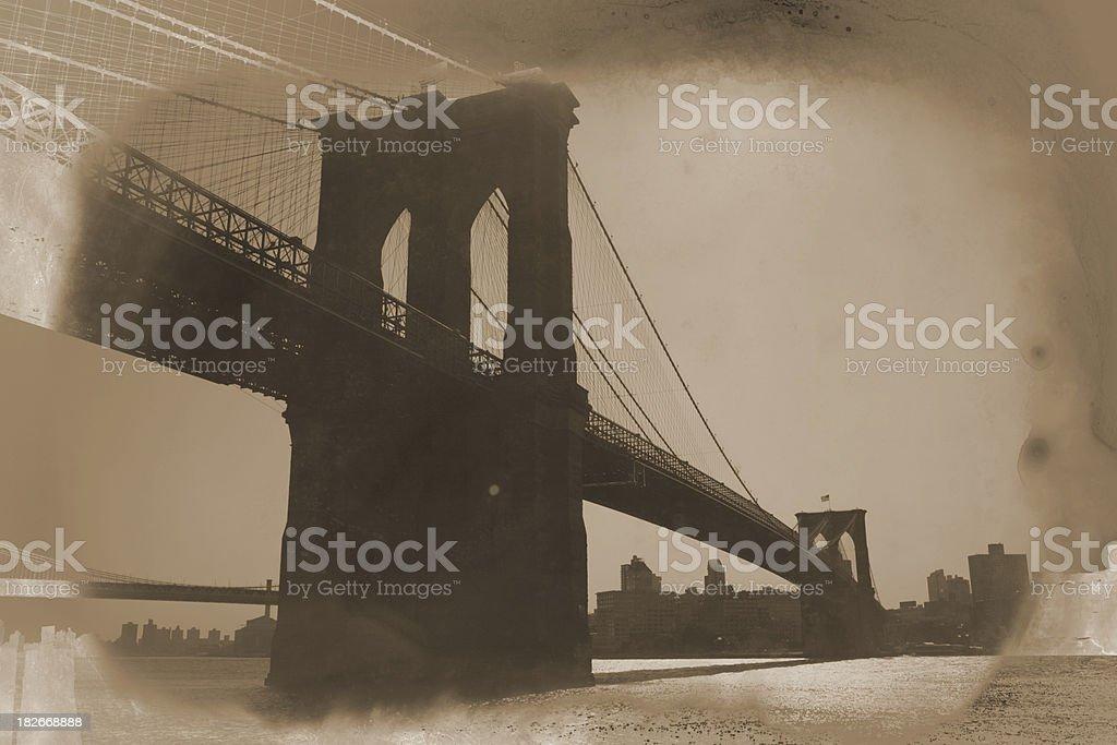 Brooklyn Bridge Sepia Retrospective royalty-free stock photo