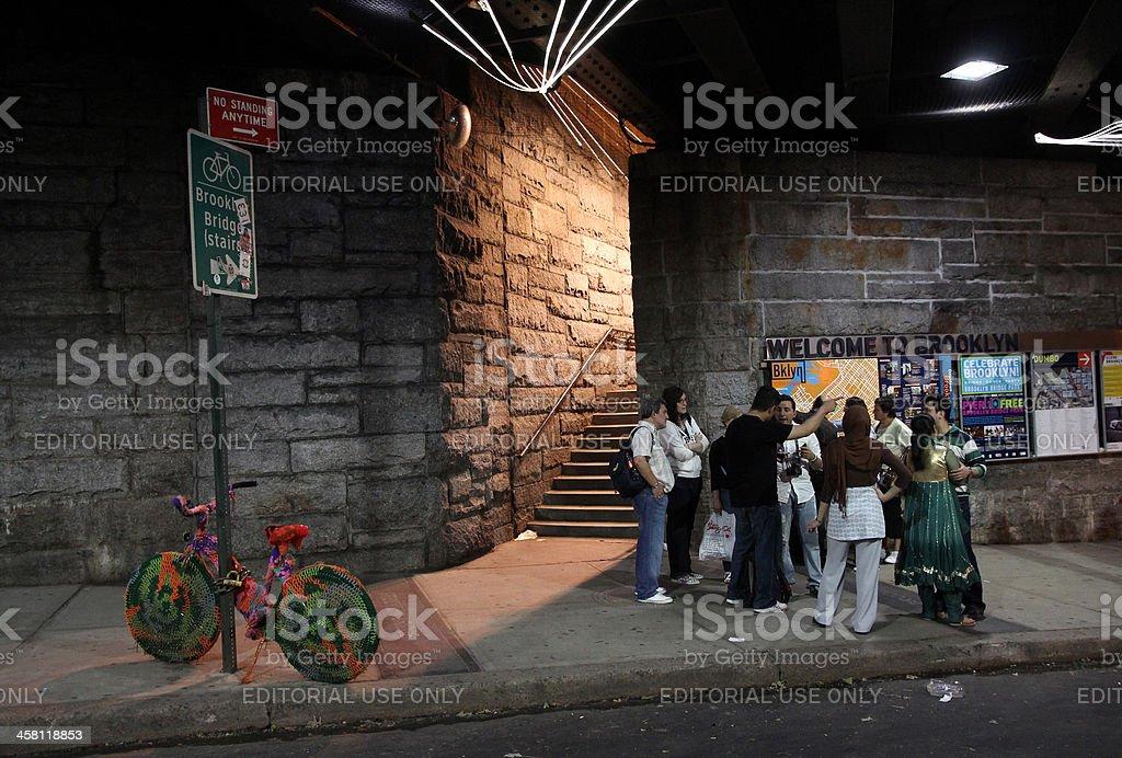 Brooklyn Bridge Stairs royalty-free stock photo
