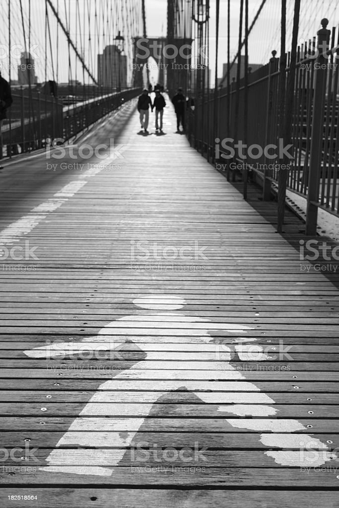 Brooklyn Bridge Sunrise Walking royalty-free stock photo