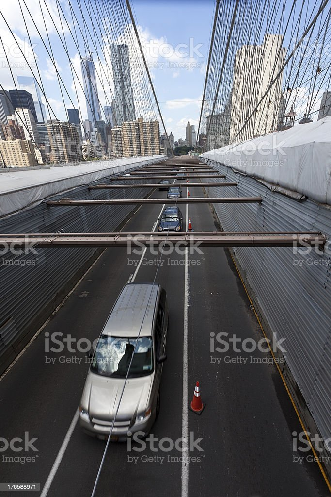 Brooklyn Bridge Traffic royalty-free stock photo