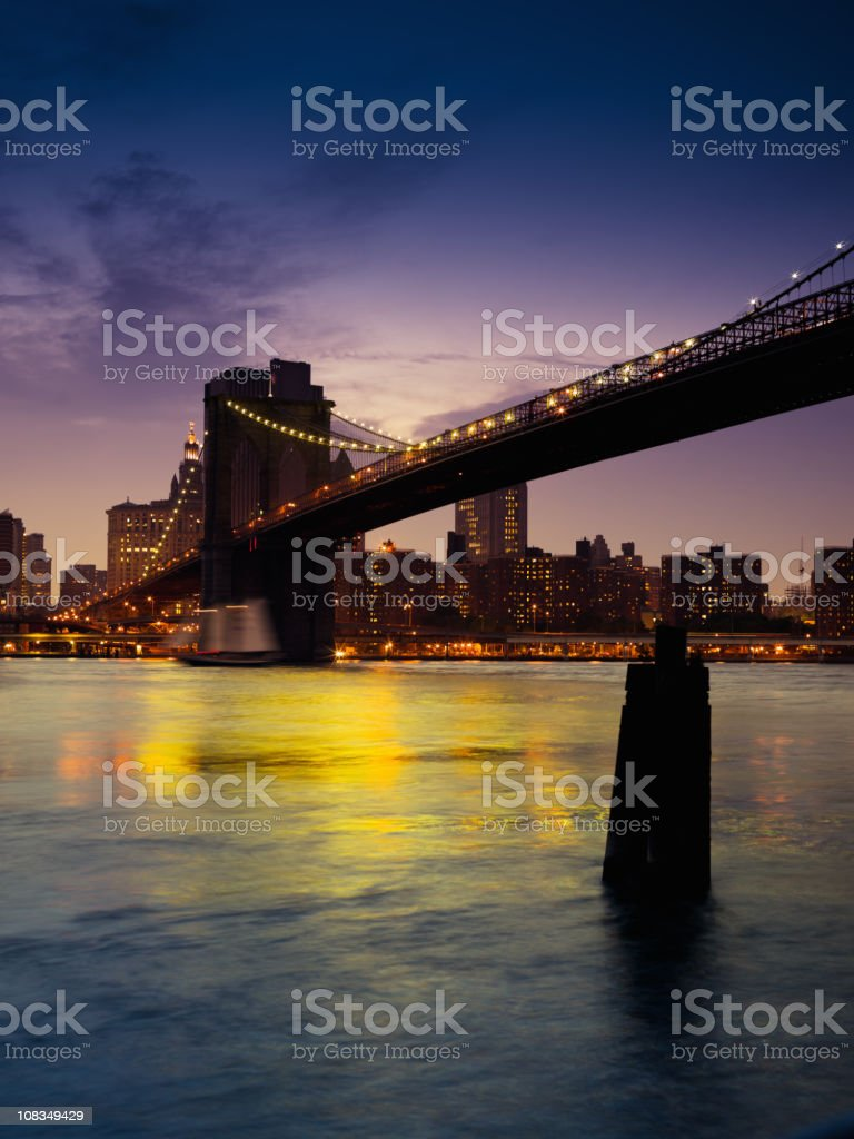 Brooklyn Bridge Twilight Night Scene New York City royalty-free stock photo