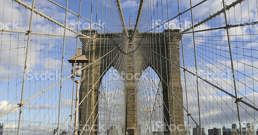 brooklyn bridge up close royalty-free stock photo