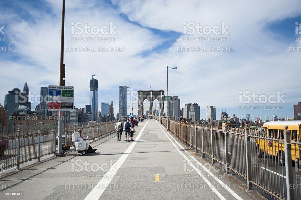 Brooklyn bridge walking path royalty-free stock photo