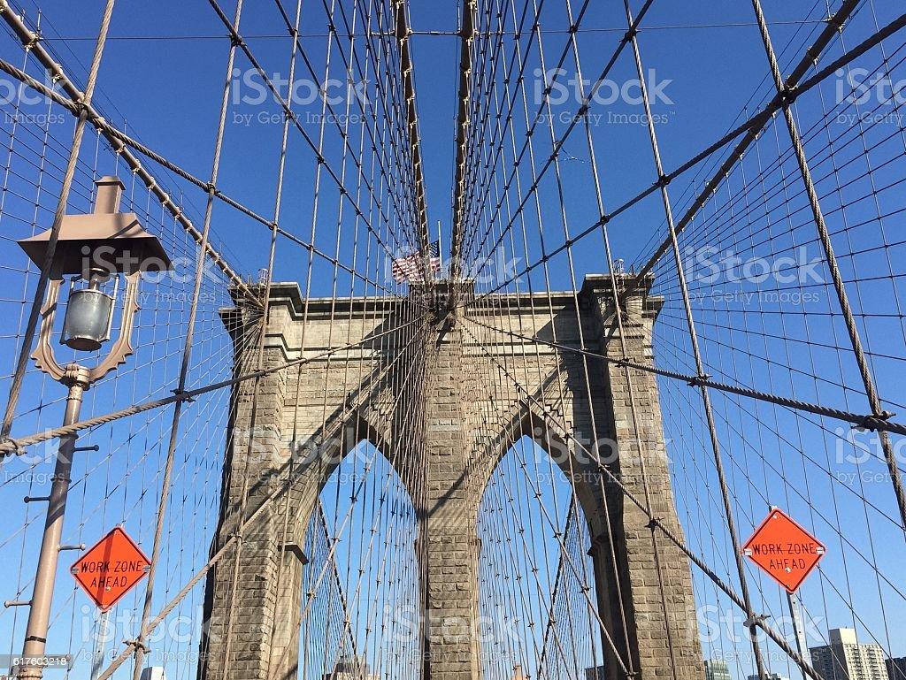 Brooklyn bridge with blue sky, New York stock photo