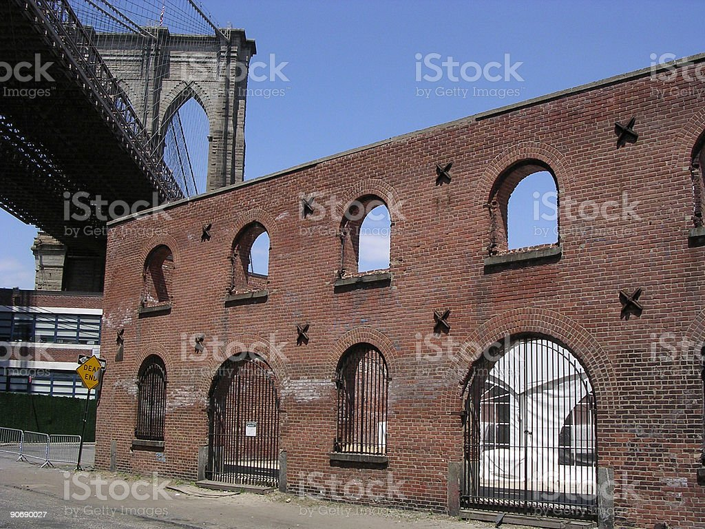 Brooklyn Bridge with Brick Facade royalty-free stock photo