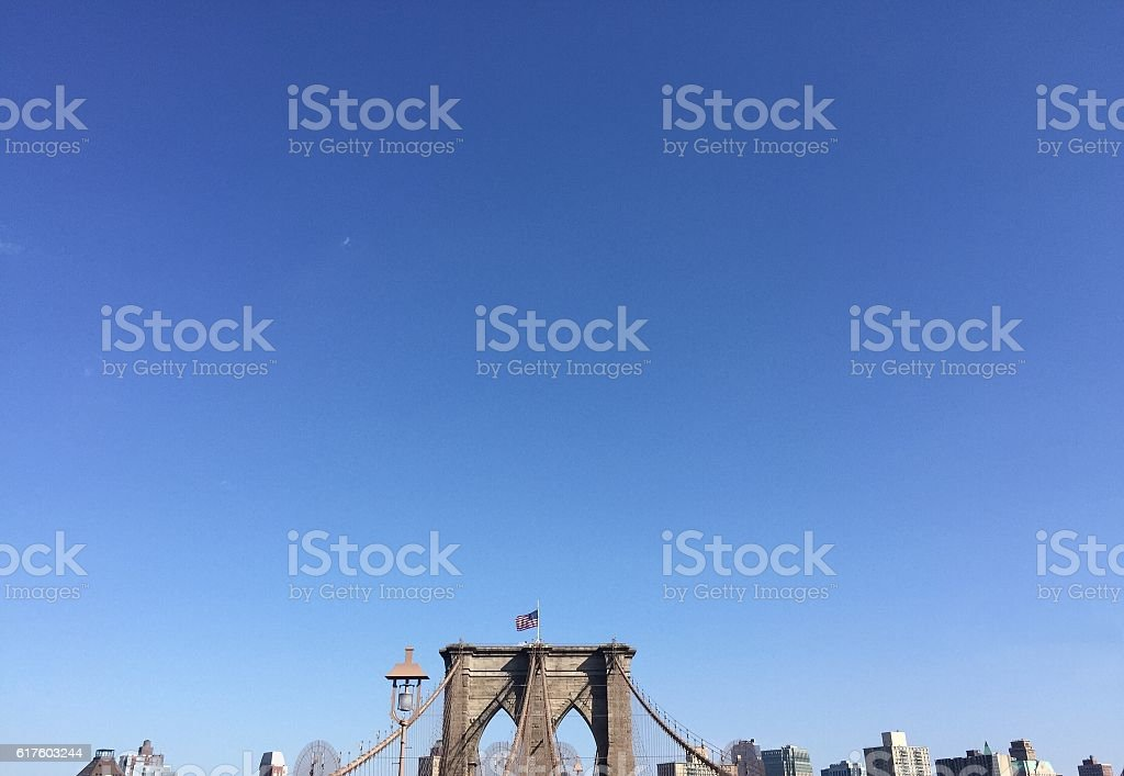 Brooklyn bridge with clearly blue sky, New York stock photo