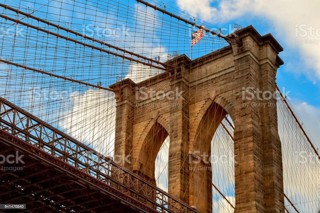 Brooklyn bridge with cloudy blue sky, New York stock photo