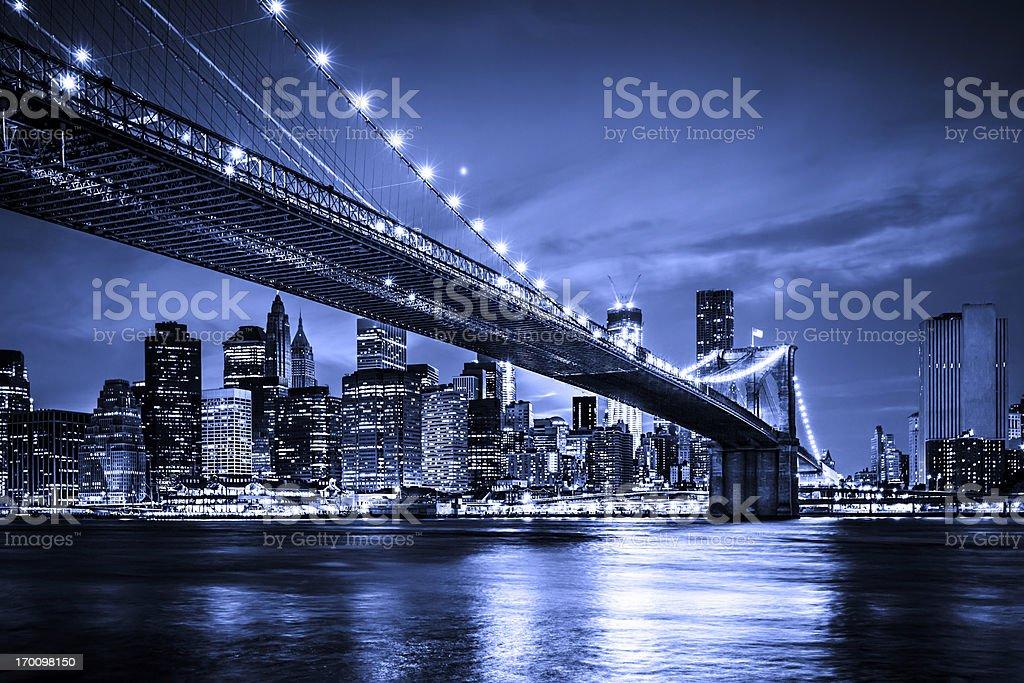Brooklyn bridge with Downtown Manhattan, New York City royalty-free stock photo