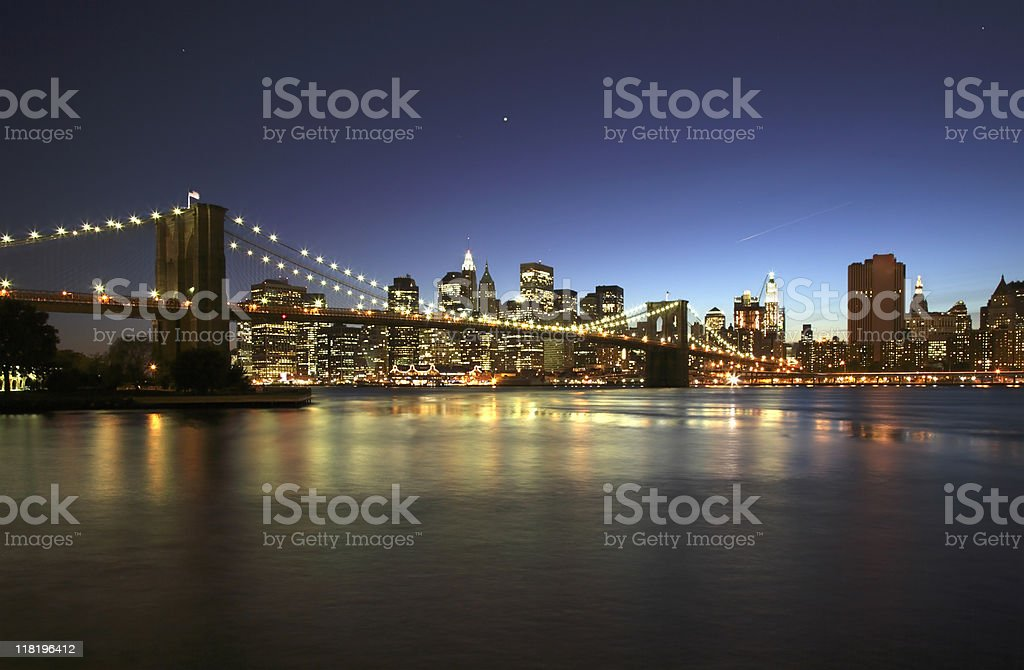 brooklyn bridge with downtown manhatten at dusk royalty-free stock photo