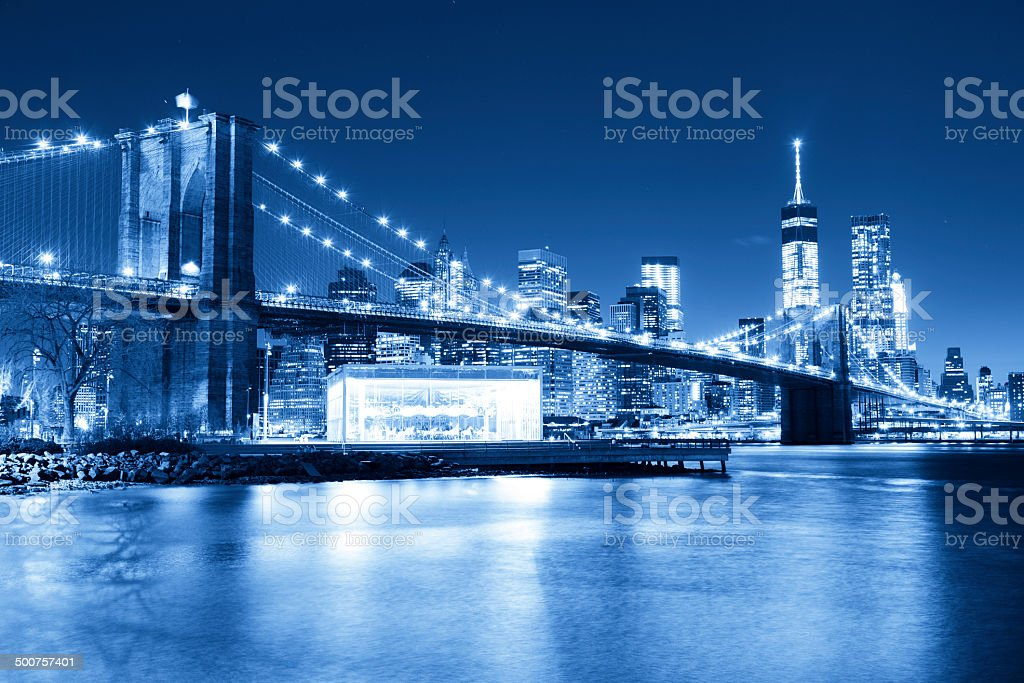Brooklyn bridge with  Freedom tower in background royalty-free stock photo
