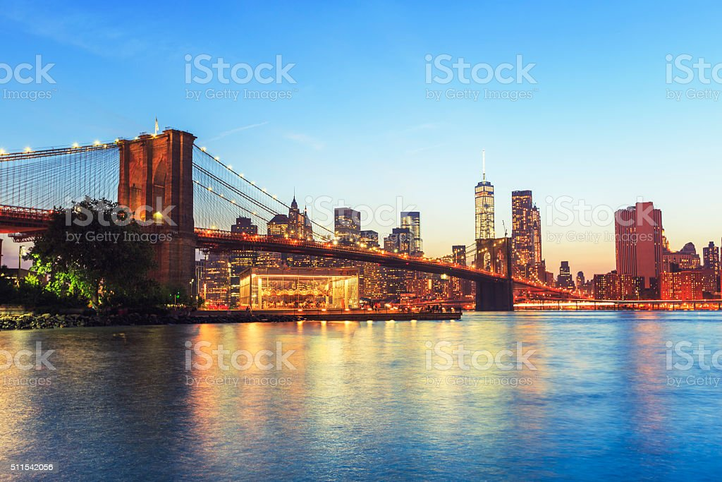 Brooklyn bridge with  Freedom tower in background stock photo