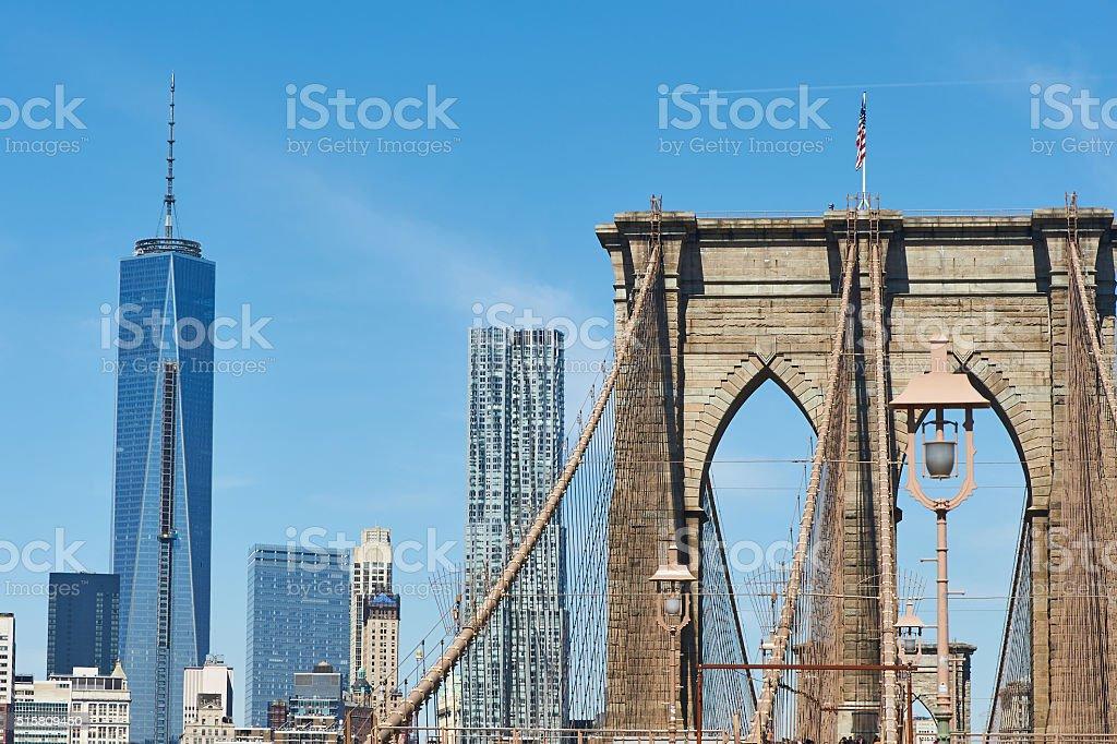 Brooklyn Bridge with lower Manhattan skyline stock photo
